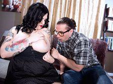 Nerd tutor receives dream bra-buster